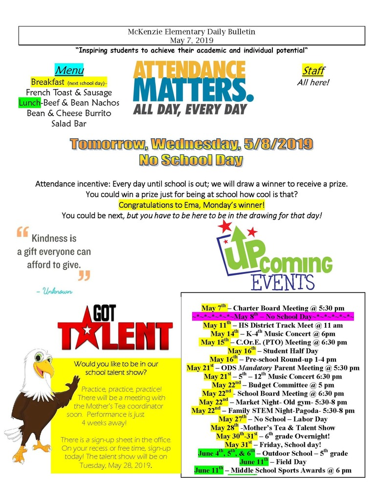 McKenzie Elementary Daily Bulletin May 7, 2019