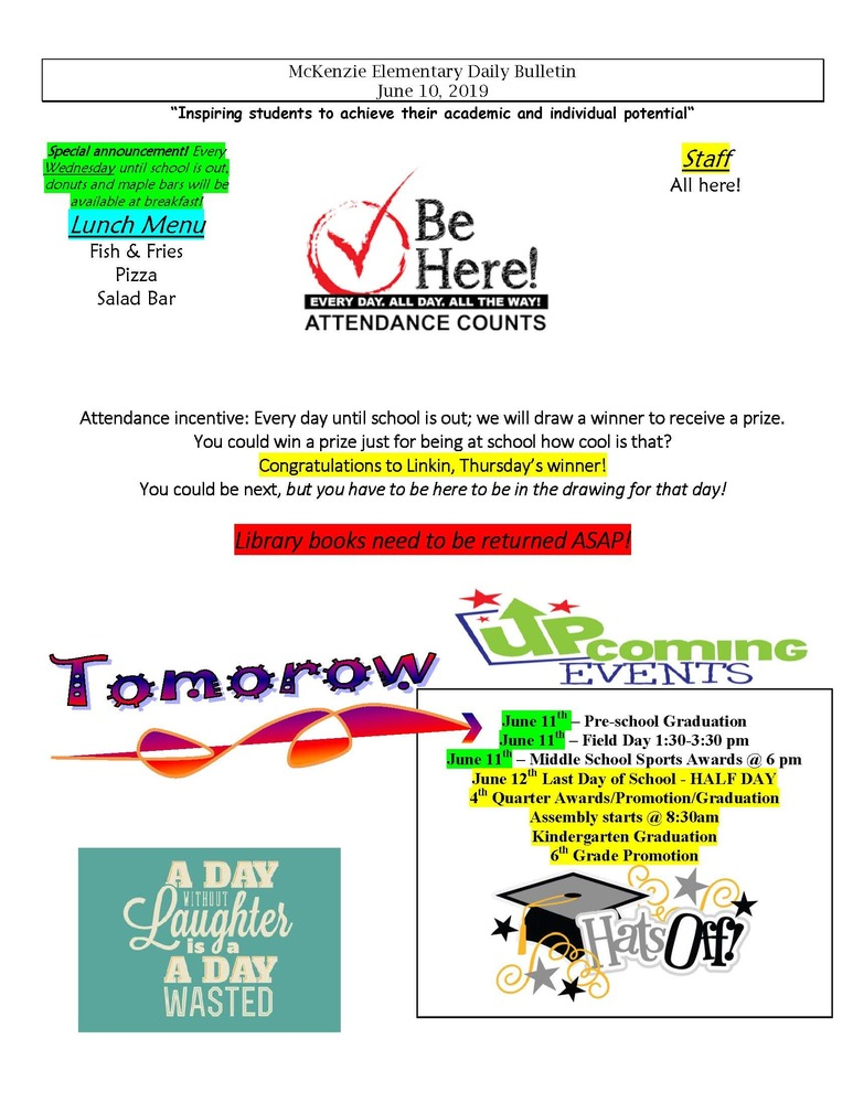 McKenzie Elementary Daily Bulletin June 10, 2019