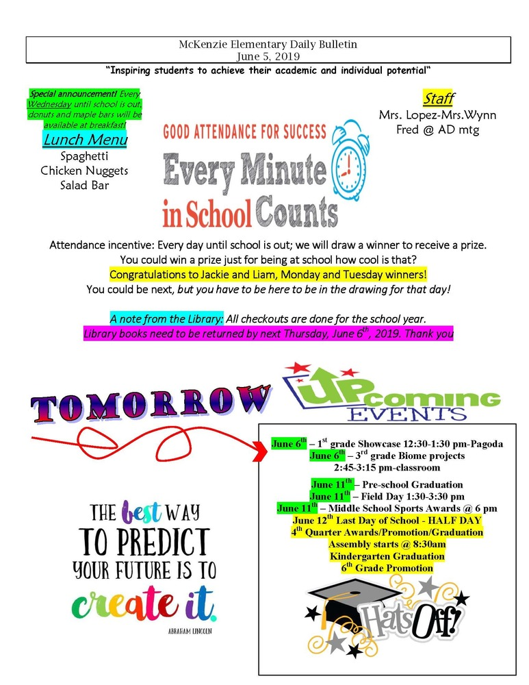 McKenzie Elementary Daily Bulletin June 5, 2019