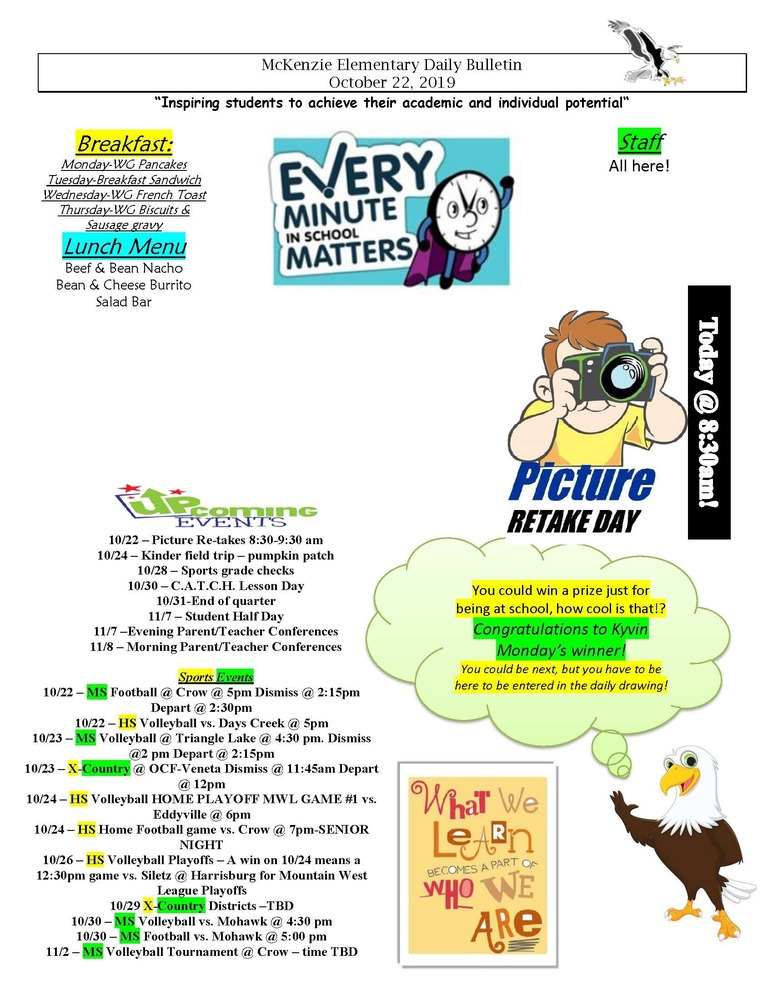 McKenzie Elementary Daily Bulletin October 22, 2019