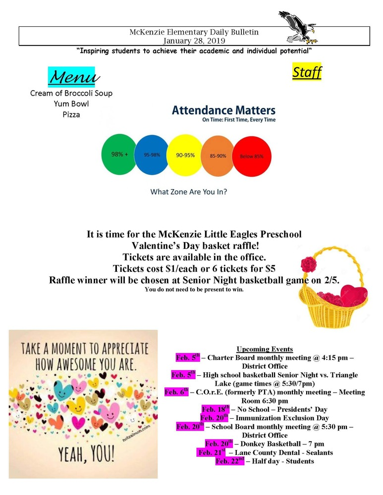 McKenzie Elementary Daily Bulletin January 28, 2019