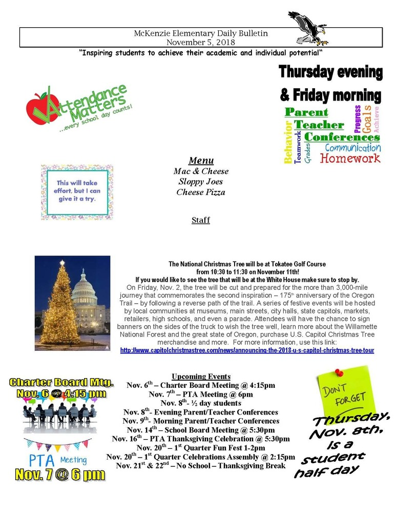 McKenzie Elementary Daily Bulletin November 5, 2018
