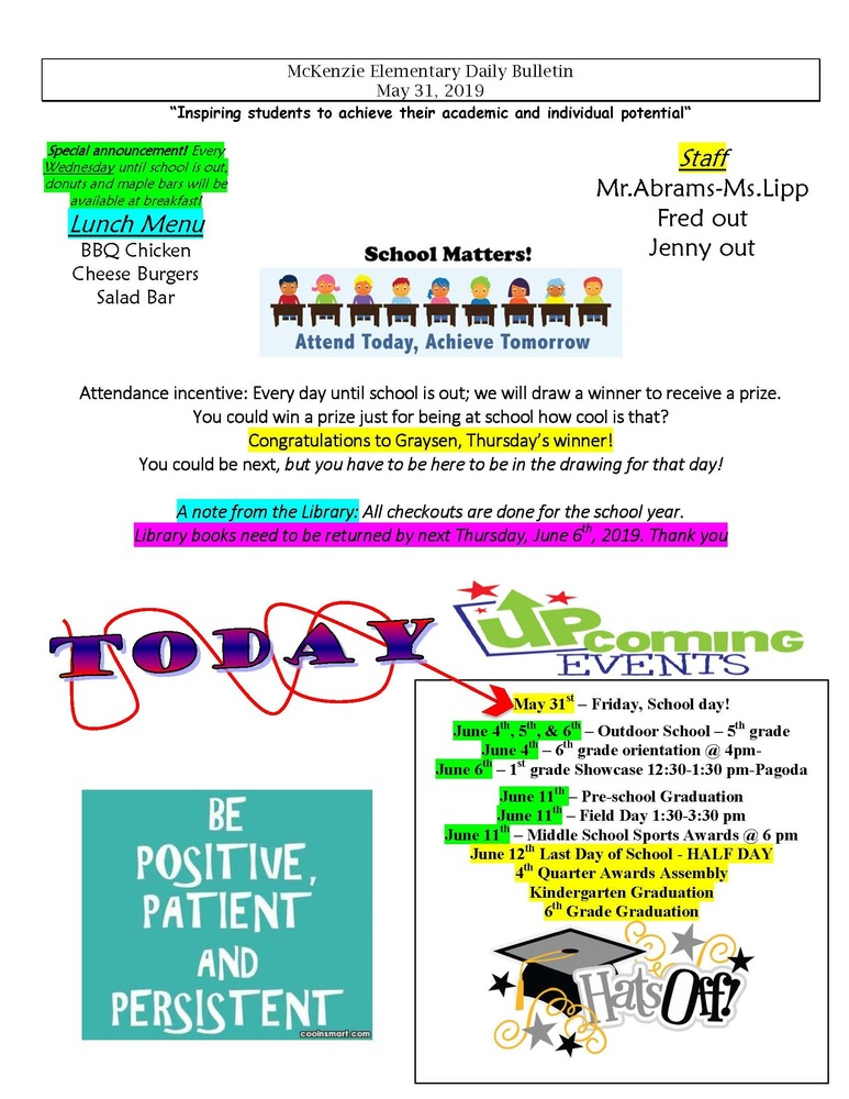 McKenzie Elementary Daily Bulletin May 31, 2019
