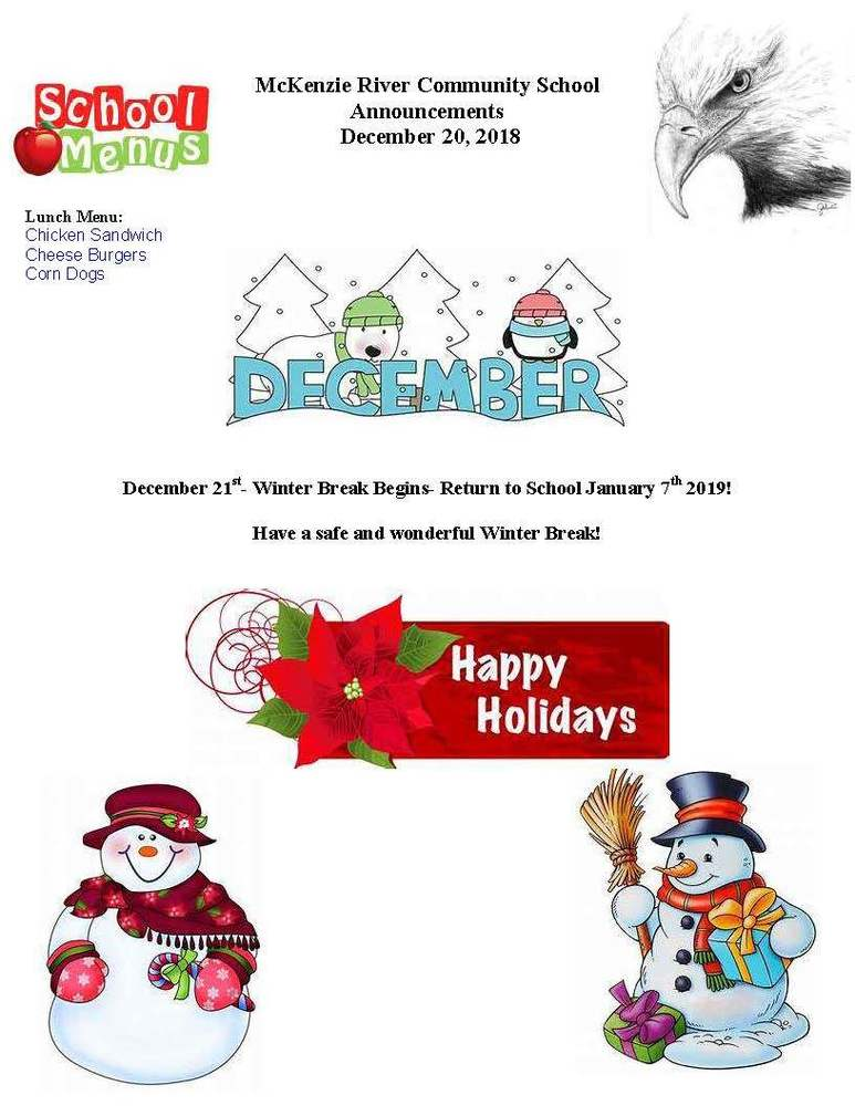 McKenzie River Community School Announcements December 20, 2018