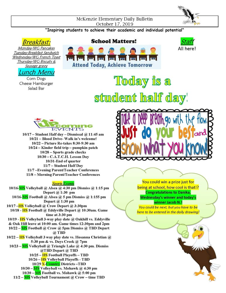 McKenzie Elementary Daily Bulletin October 17, 2019