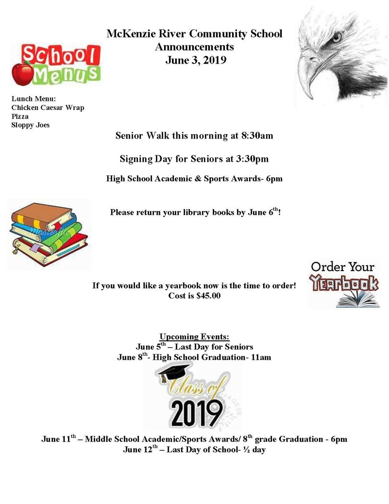 McKenzie River Community School Announcements June 3, 2019