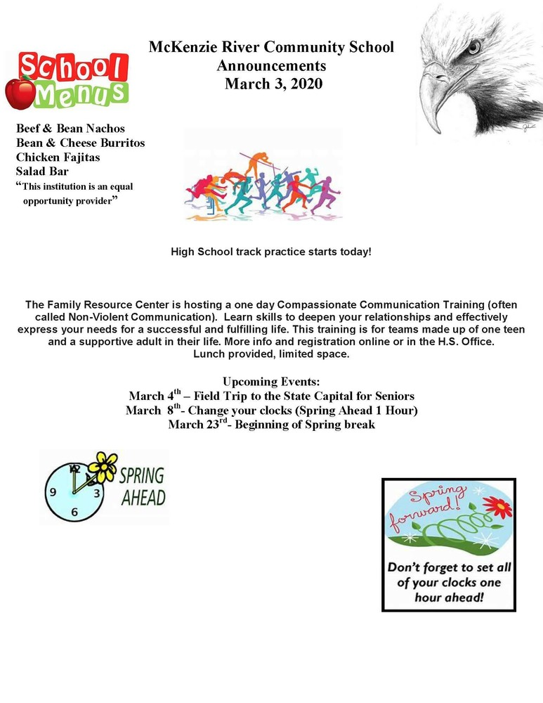McKenzie River Community School Announcements March 3, 2020
