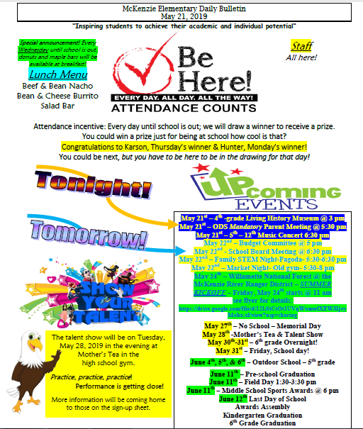 McKenzie Elementary Announcements 5/21/19