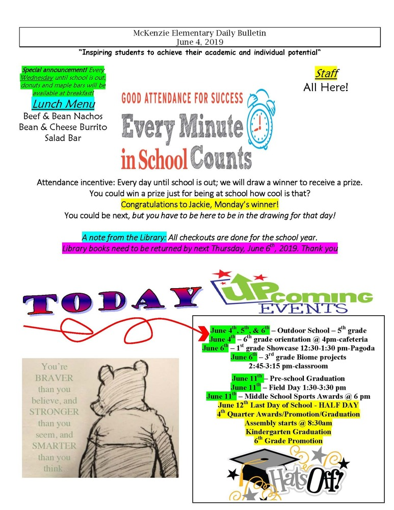 McKenzie Elementary Daily Bulletin June 4, 2019