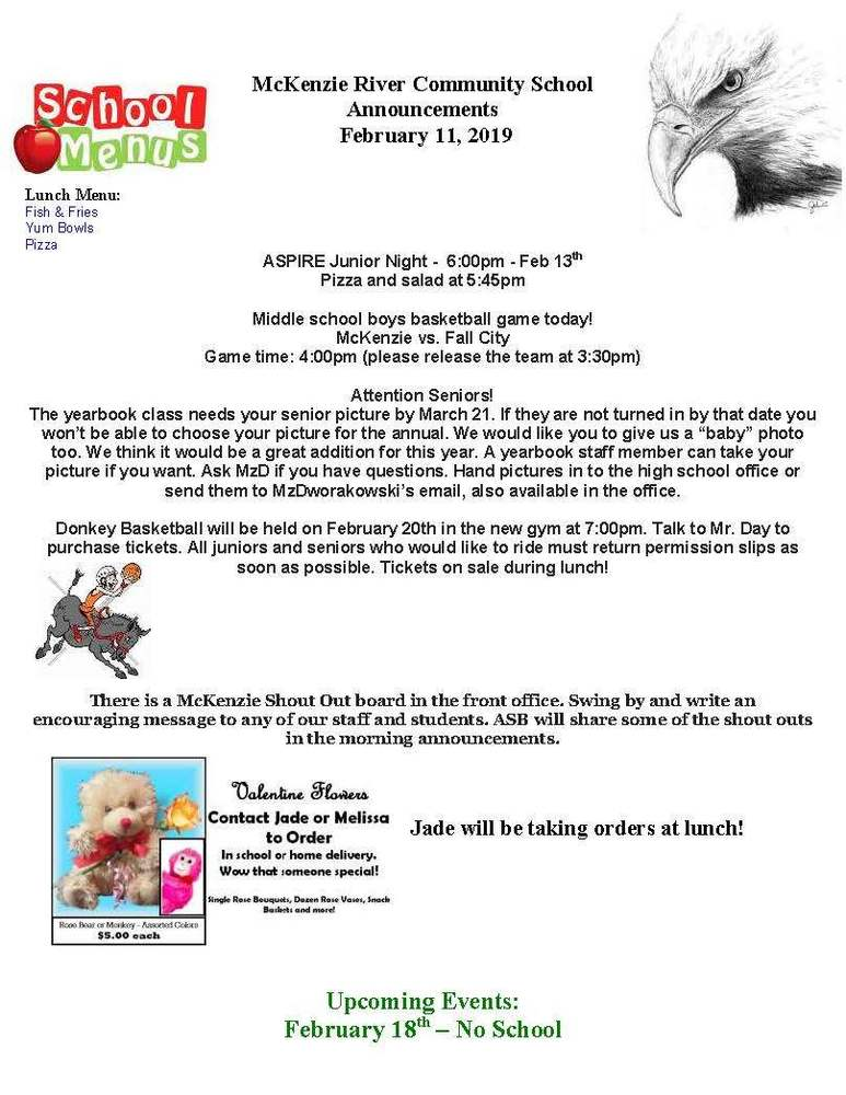 McKenzie River Community School Announcements February 11, 2019