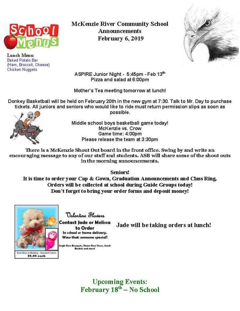 McKenzie River Community School Announcements February 6, 2019