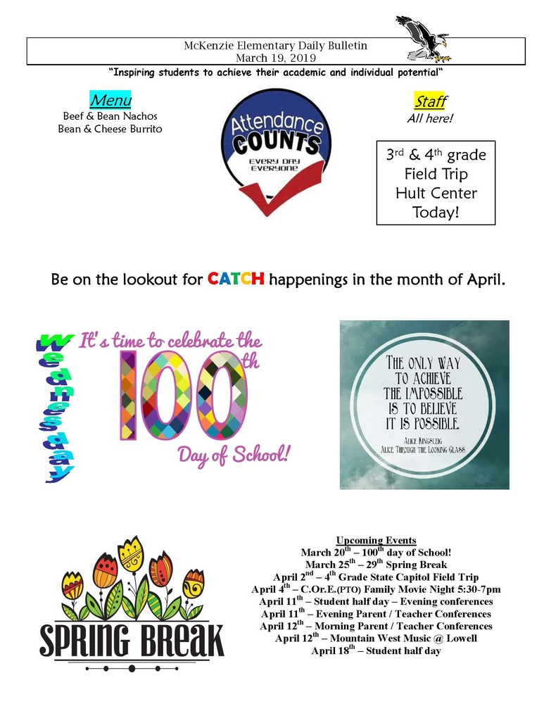 McKenzie Elementary Daily Bulletin March 19, 2019