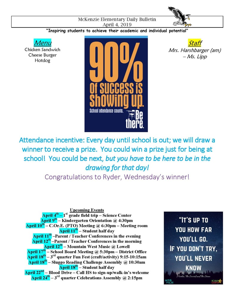 McKenzie Elementary Daily Bulletin April 4, 2019
