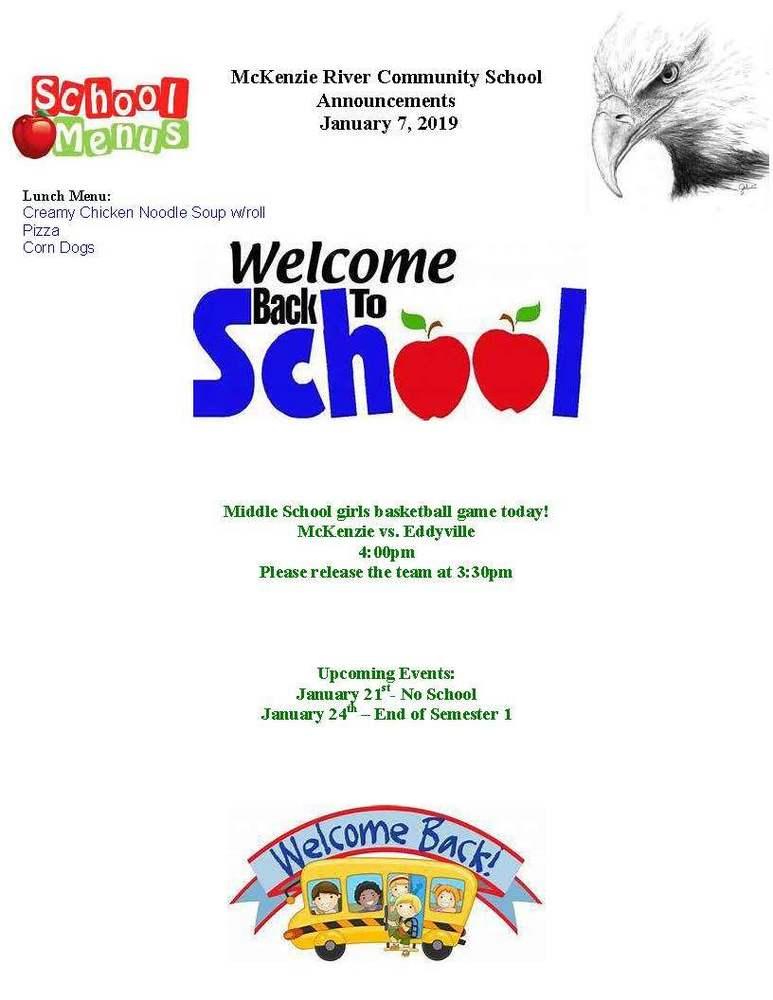 McKenzie River Community School Announcements January 7, 2019