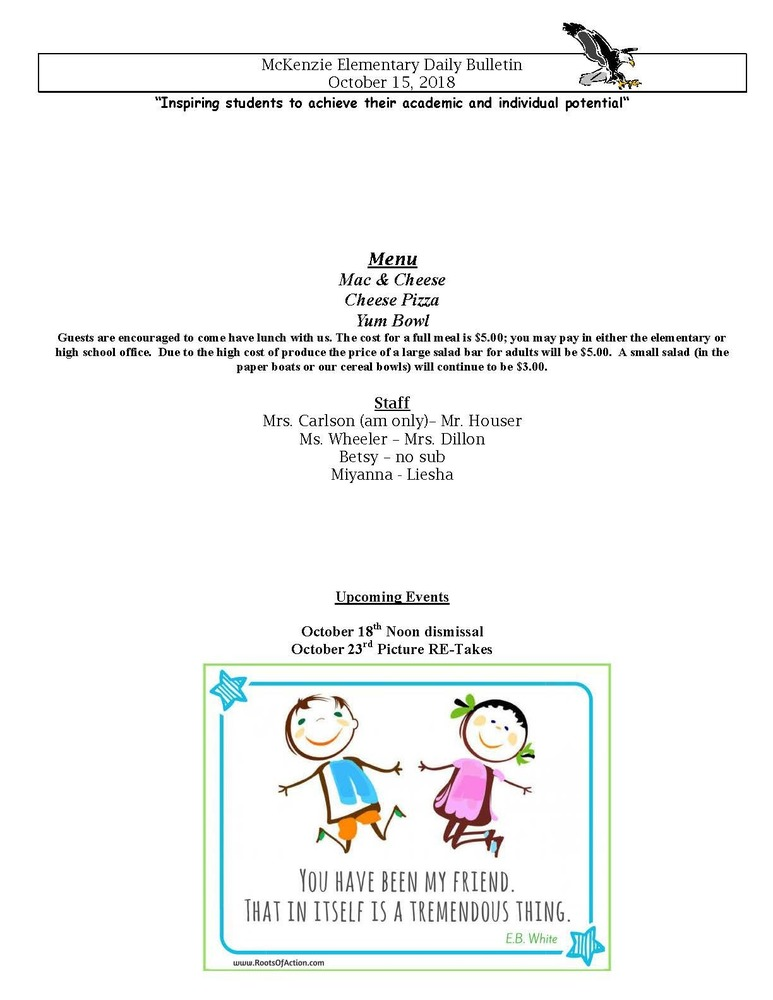 McKenzie Elementary Daily Bulletin October 15, 2018