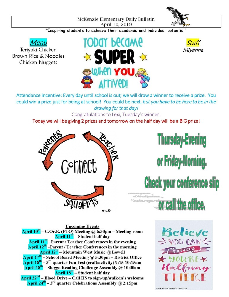 McKenzie Elementary Daily Bulletin April 10, 2019