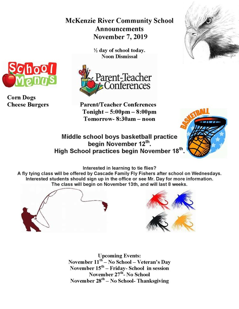 McKenzie River Community School Announcements November 7, 2019