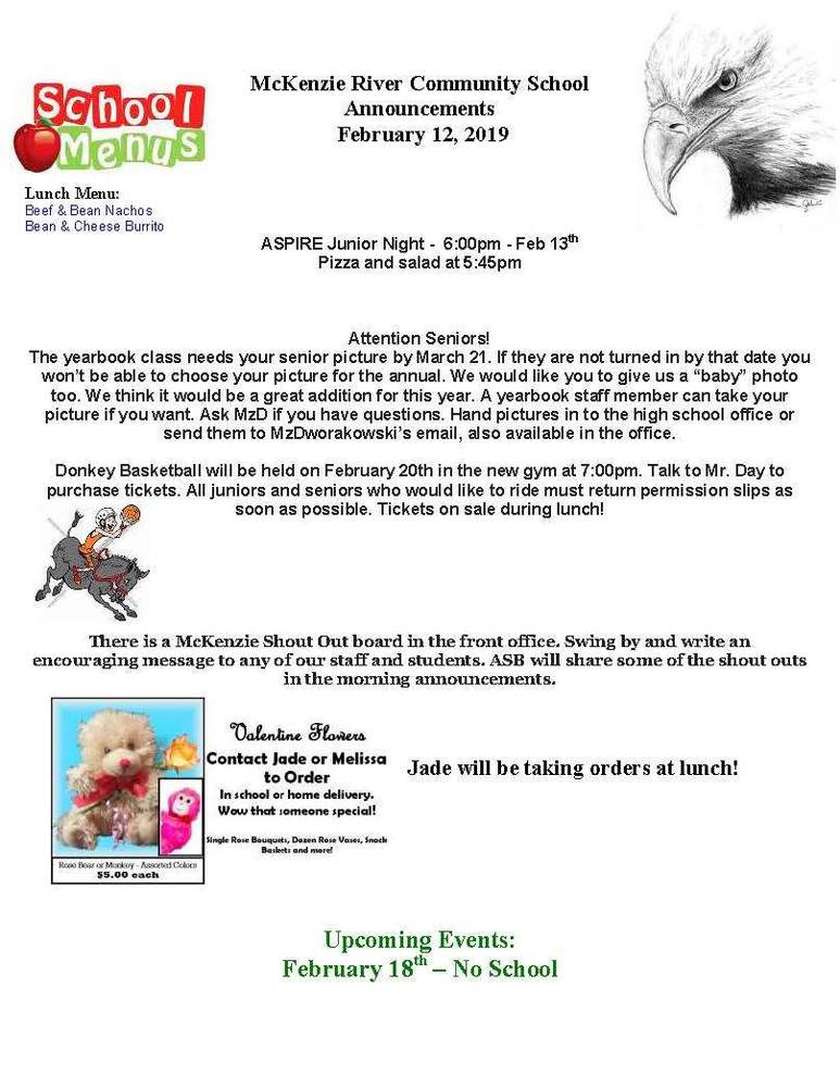 McKenzie River Community School Announcements February 12, 2019