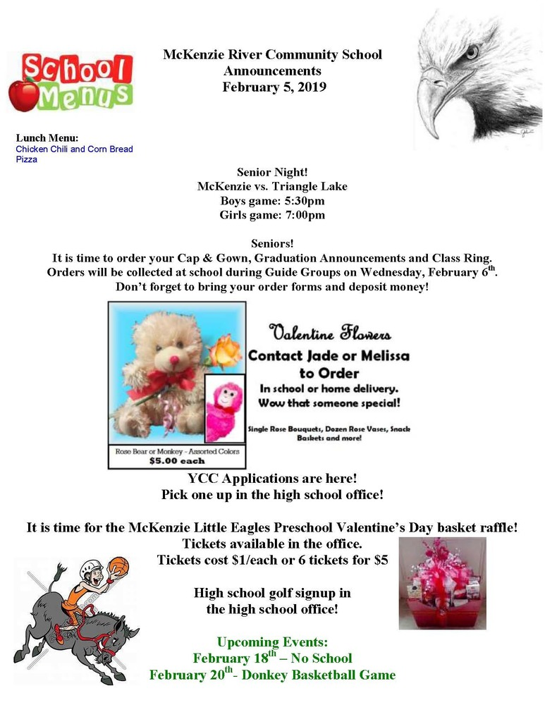 McKenzie River Community School Announcements February 5, 2019
