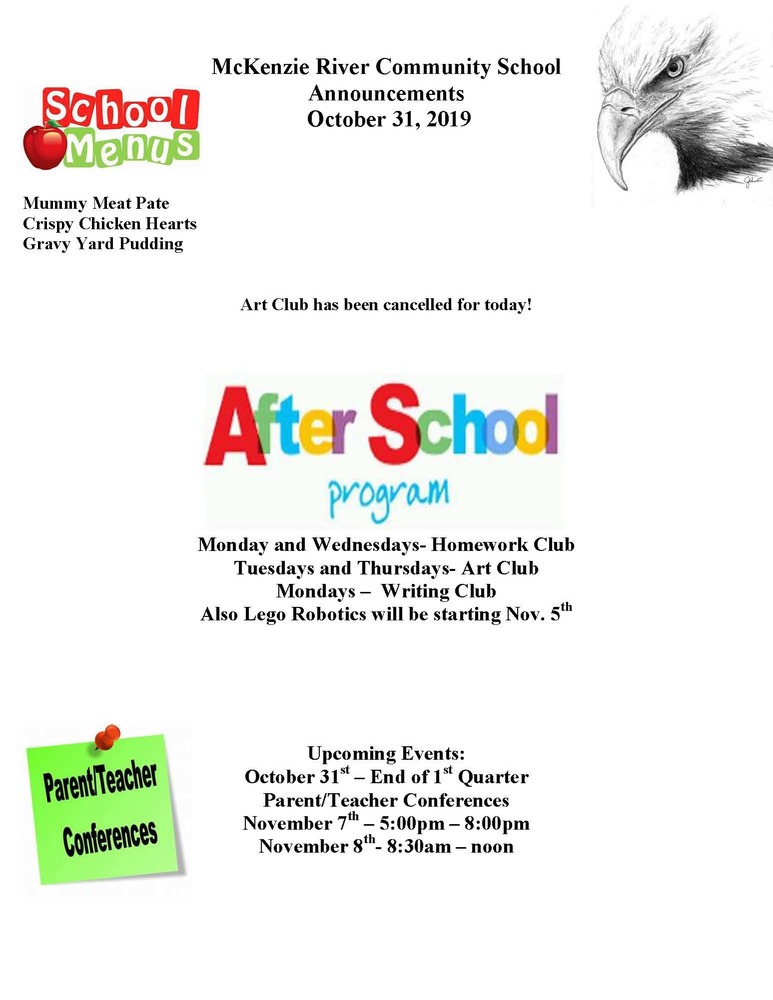 McKenzie River Community School Announcements October 31, 2019