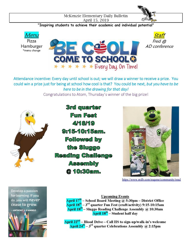 McKenzie Elementary Daily Bulletin April 15, 2019