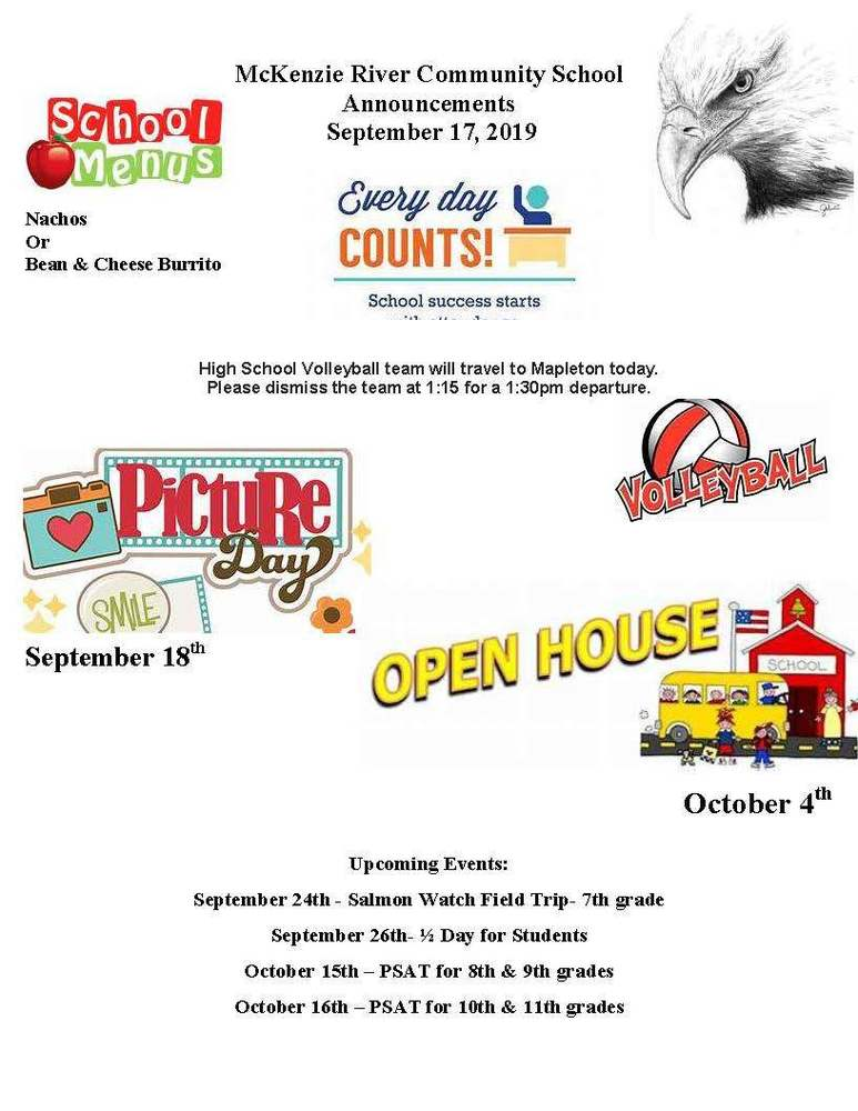 McKenzie River Community School Announcements September 17, 2019
