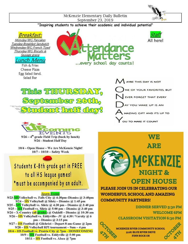 McKenzie Elementary Daily Bulletin September 23, 2019