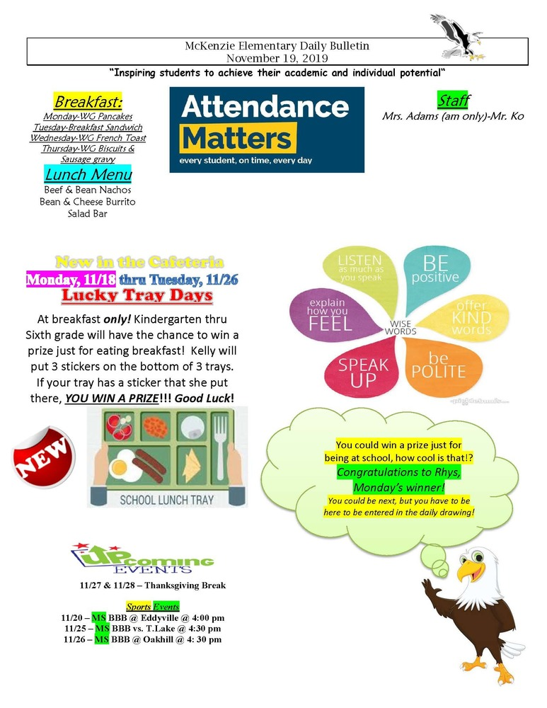 McKenzie Elementary Daily Bulletin November 19, 2019