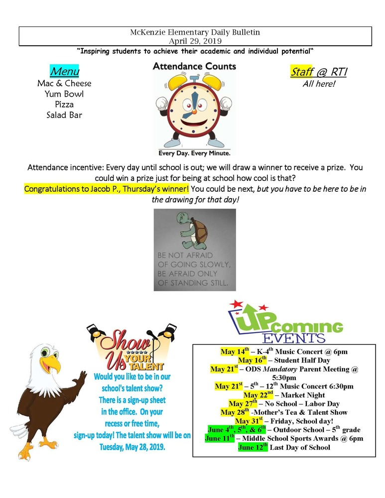 McKenzie Elementary Daily Bulletin April 29, 2019