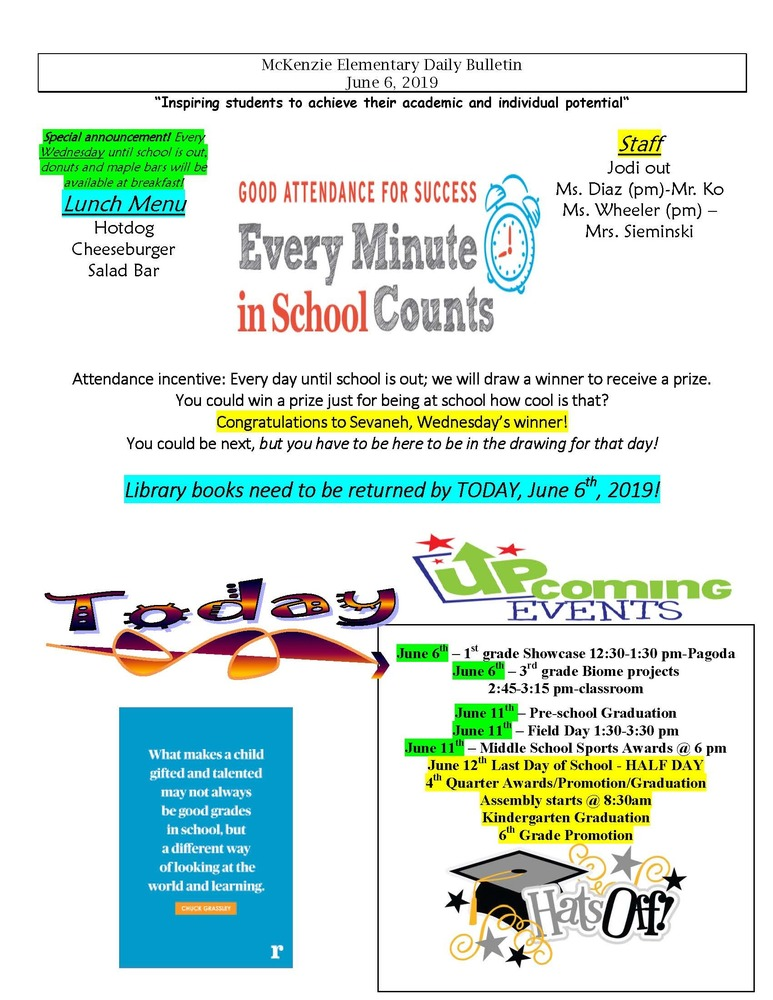 McKenzie Elementary Daily Bulletin June 6, 2019