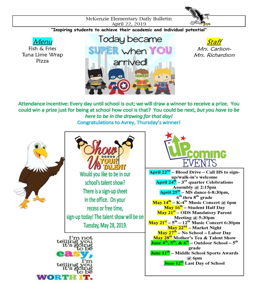 McKenzie Elementary Daily Bulletin April 22, 2019