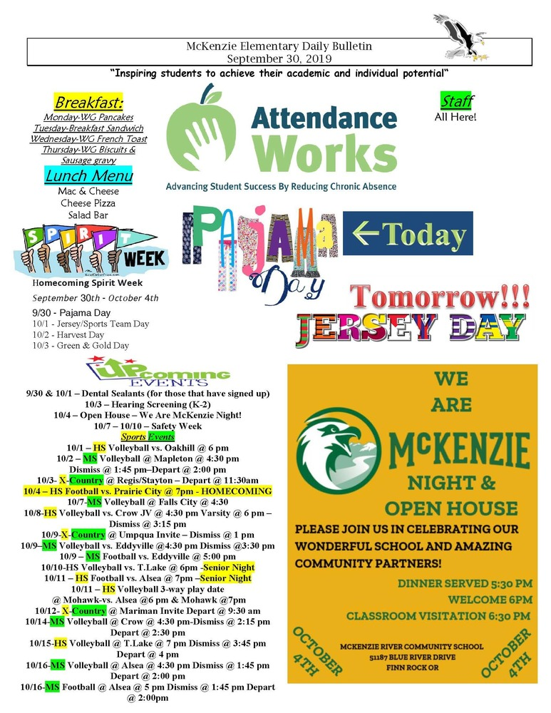 McKenzie Elementary Daily Bulletin September 30, 2019