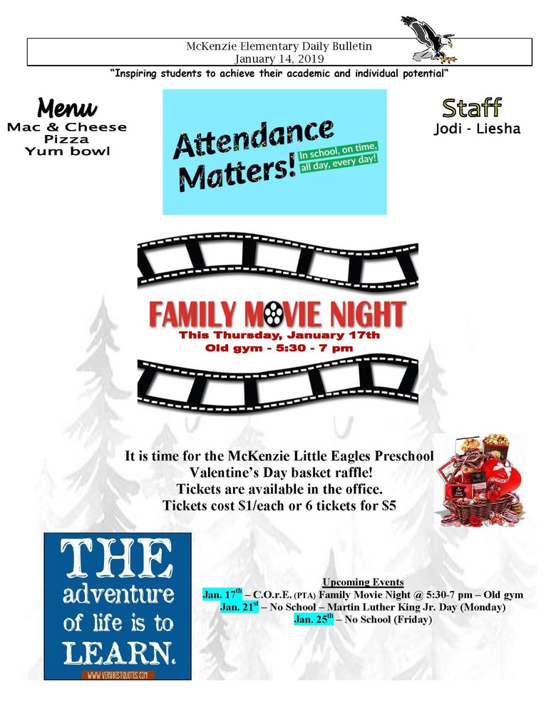 McKenzie Elementary Daily Bulletin January 14, 2019