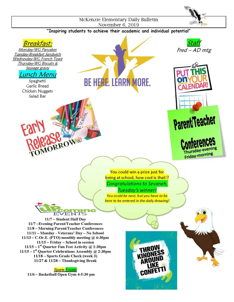 McKenzie Elementary Daily Bulletin November 6, 2019