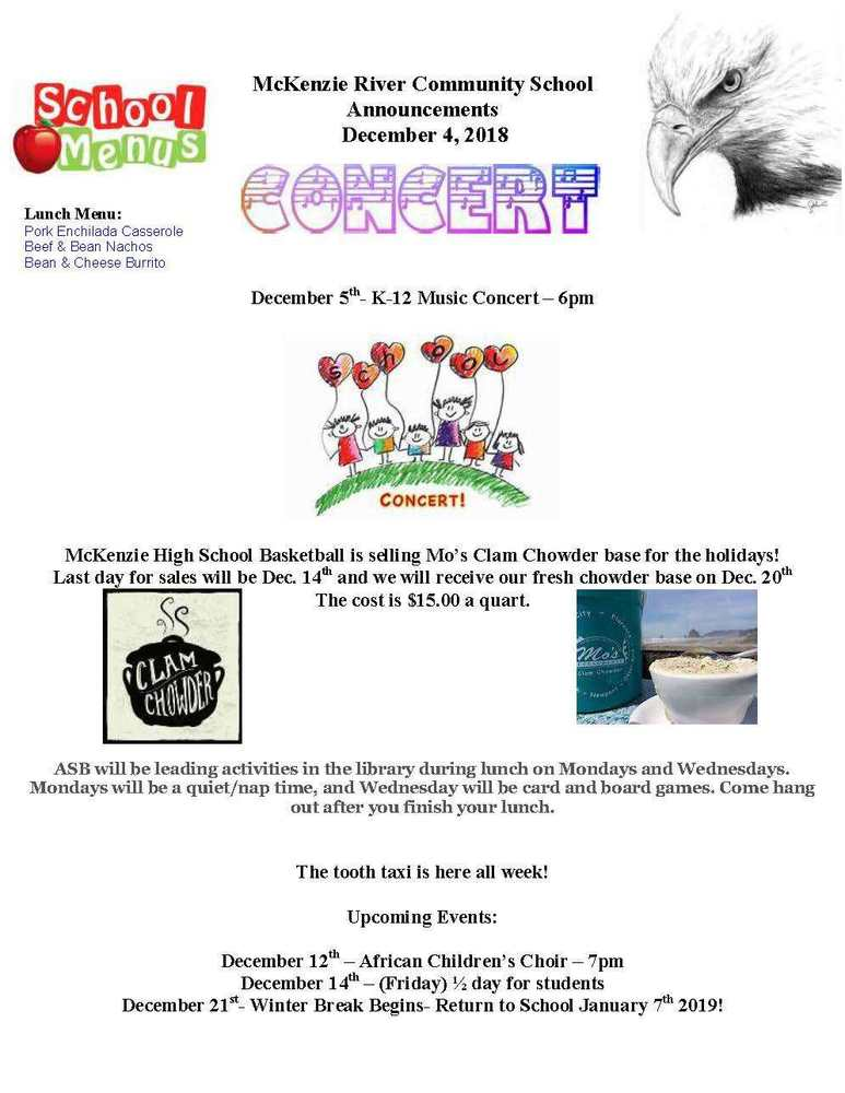 McKenzie River Community School Announcements December 4, 2018