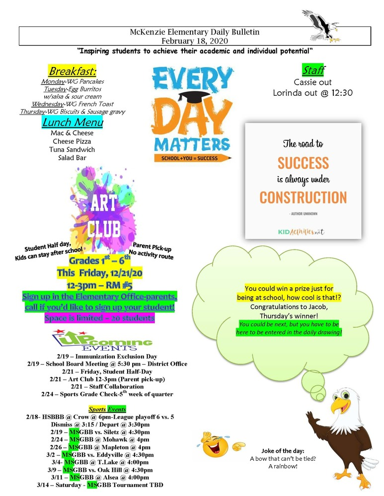 McKenzie Elementary Daily Bulletin February 18, 2020
