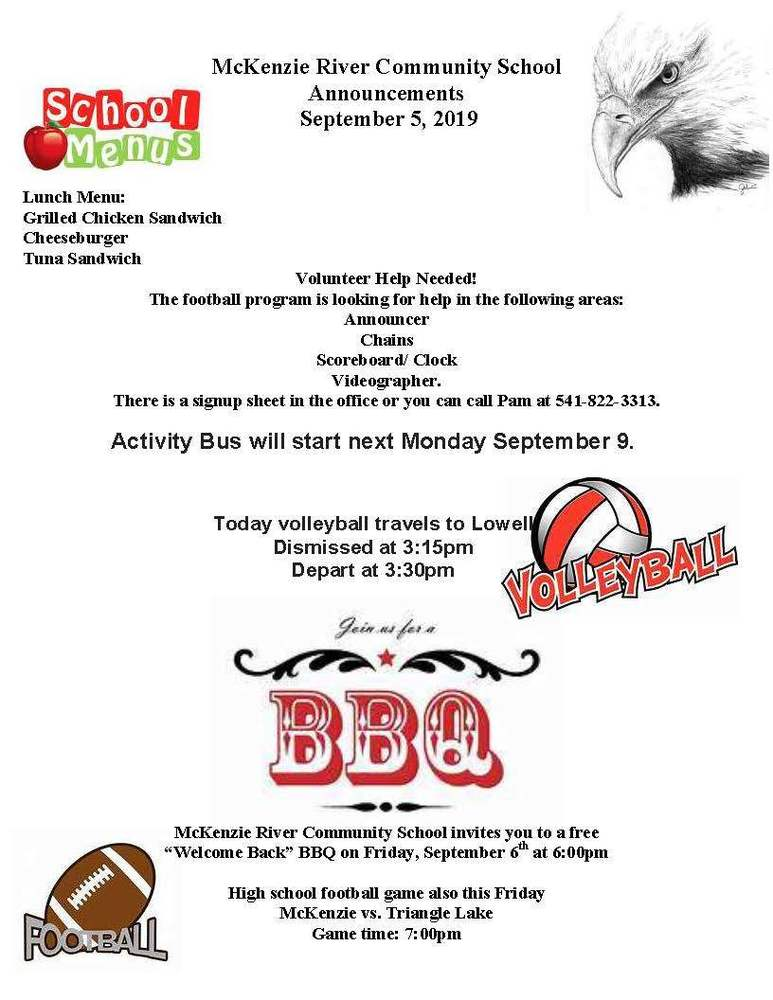 McKenzie River Community School Announcements September 5, 2019