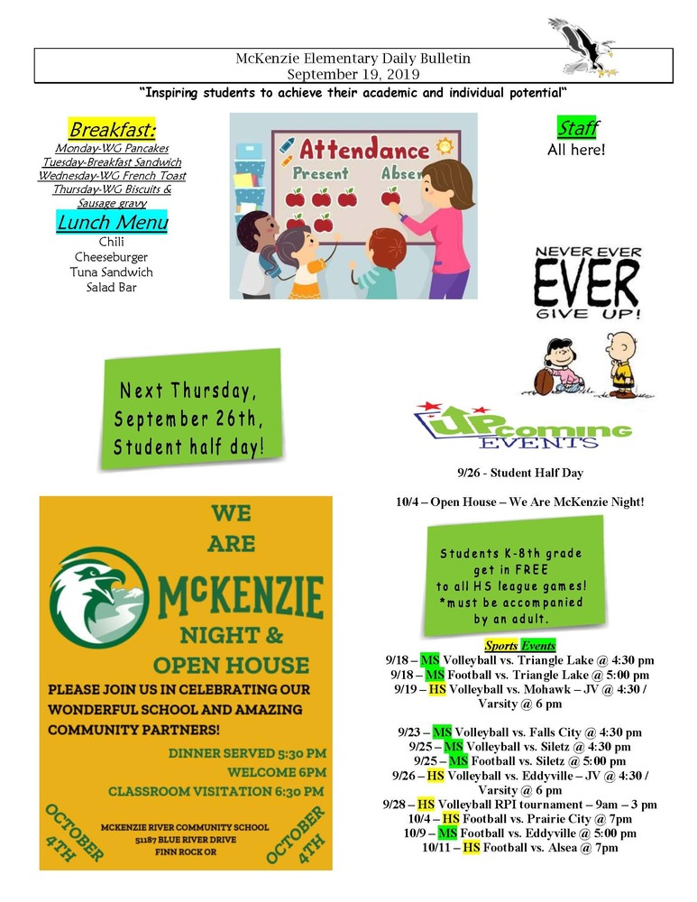 McKenzie Elementary Daily Bulletin September 19, 2019