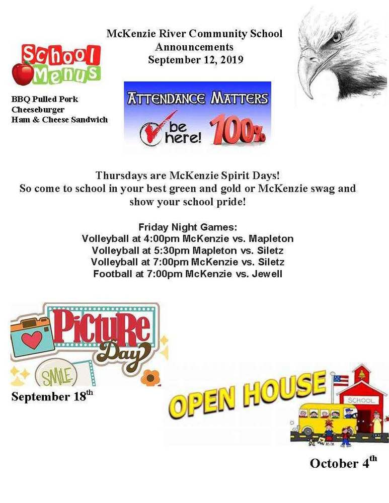 McKenzie River Community School Announcements September 12, 2019