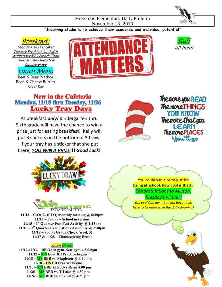 McKenzie Elementary Daily Bulletin November 13, 2019