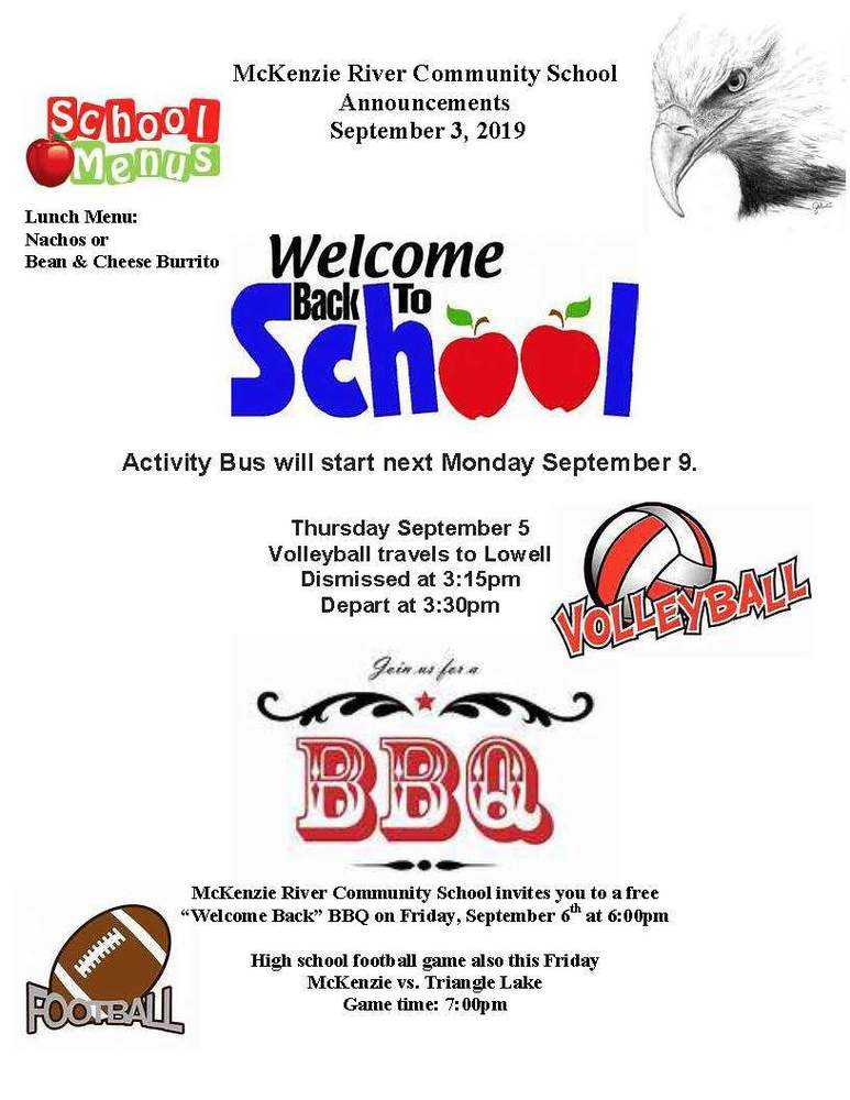 McKenzie River Community School Announcements September 3, 2019