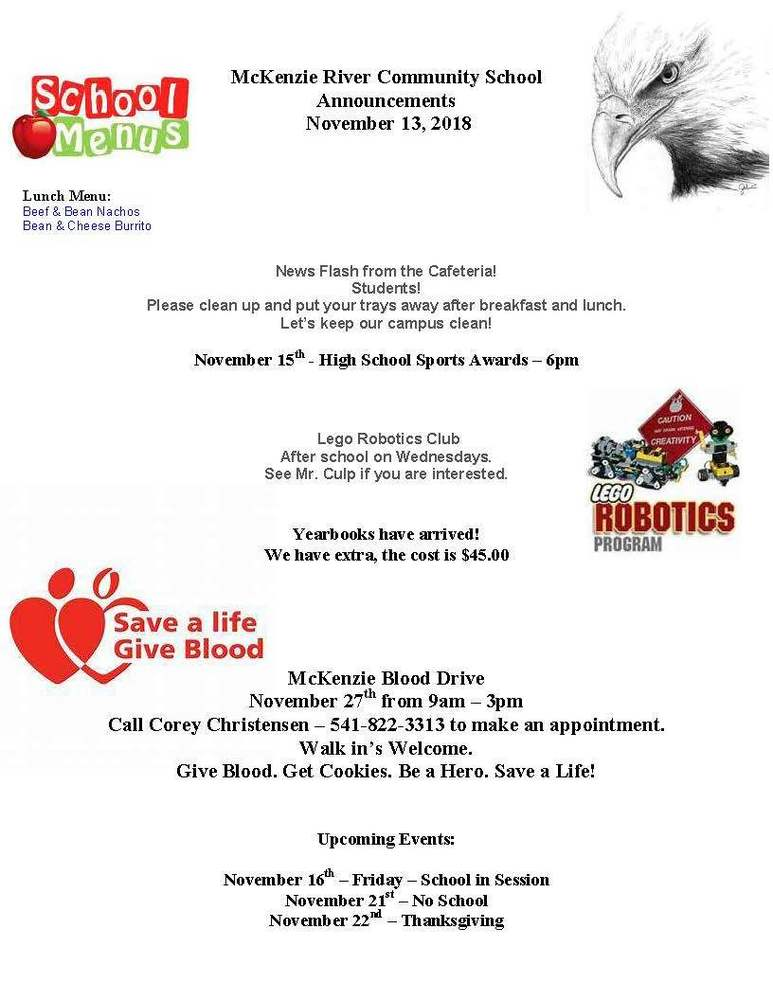 McKenzie River Community School Announcements November 13, 2018