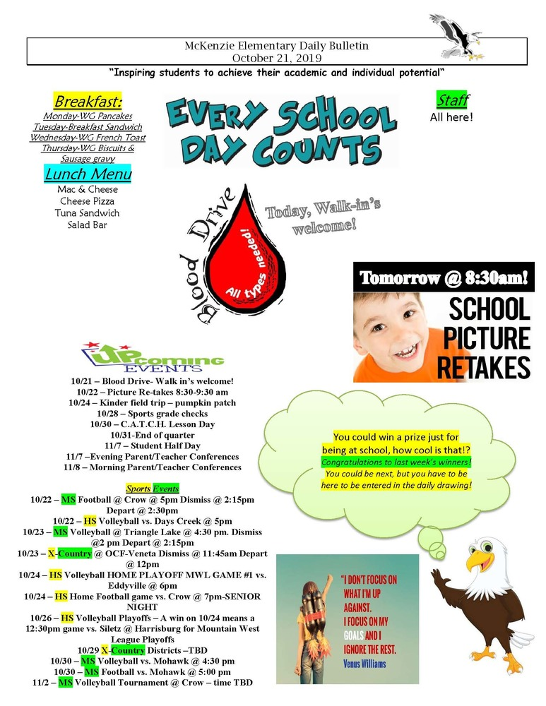 McKenzie Elementary Daily Bulletin October 21, 2019