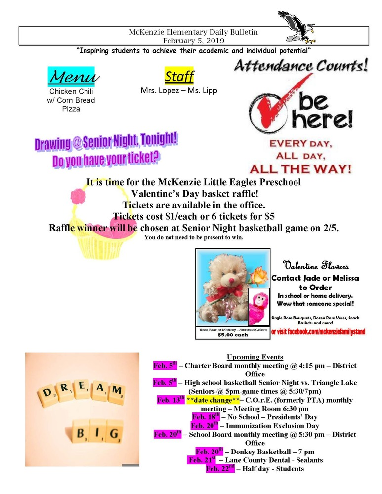 McKenzie Elementary Daily Bulletin February 5, 2019
