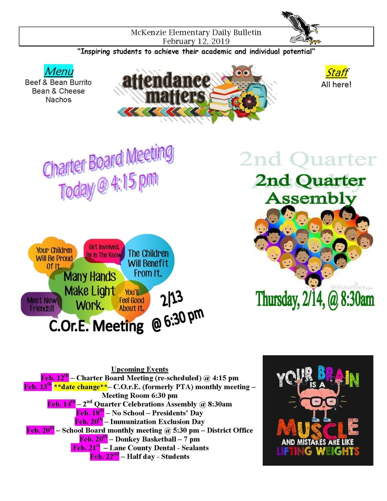 McKenzie Elementary Daily Bulletin February 12, 2019