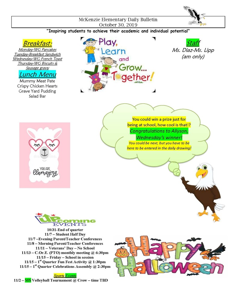 McKenzie Elementary Daily Bulletin October 30, 2019
