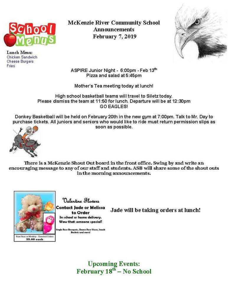 McKenzie River Community School Announcements February 7, 2019