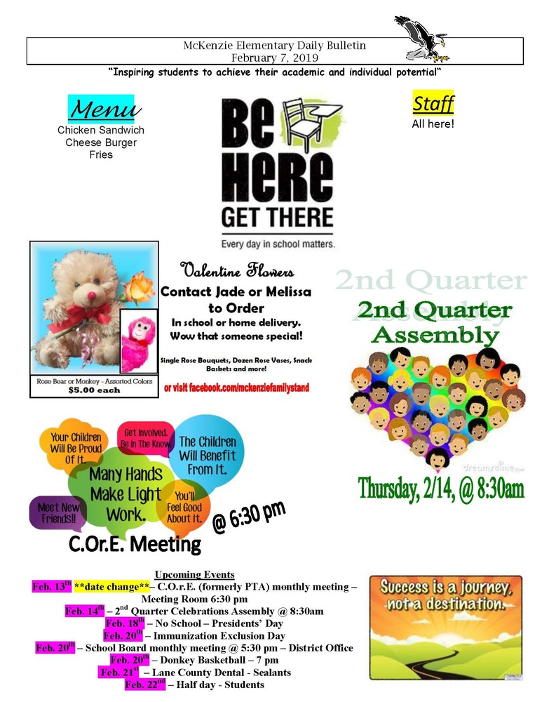 McKenzie Elementary Daily Bulletin February 7, 2019