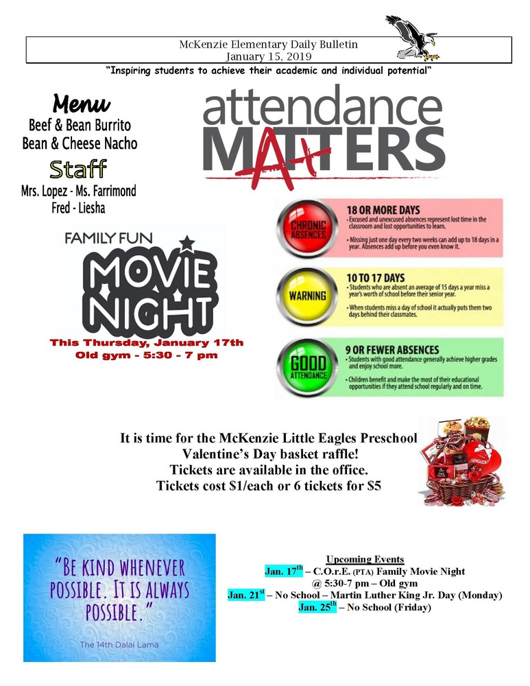 McKenzie Elementary Daily Bulletin January 15, 2019