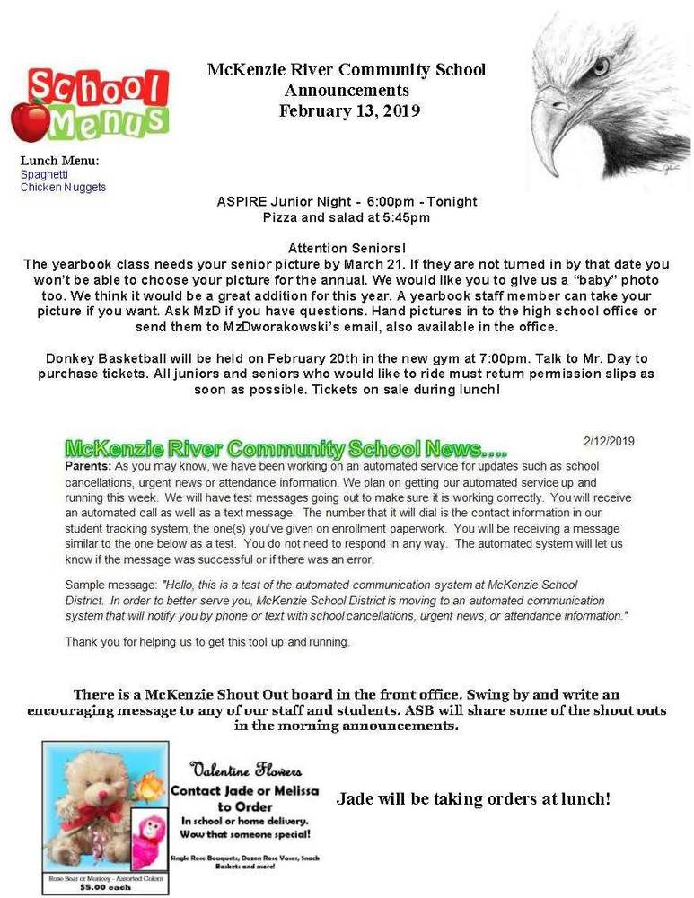 McKenzie River Community School Announcements February 13, 2019